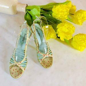 Kenzie Green Retro Floral Slingback Heel Sandals